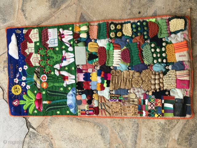 FOLK ART MARKET, South America, 48 x 93, probably Perou ? or Bolivie, circa 1950/60.