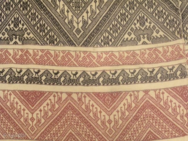 """Pah Lop"" A Tai Lue mattress cover cloth from Udomxay, Laos. It is made from two long panels of hand spun cotton sewn together forming a big 1m. x 2m. rectangle piece  ..."