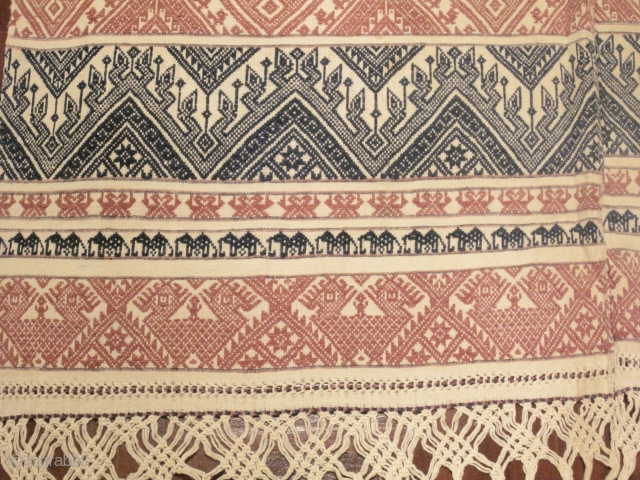 """""""Pah Lop"""" A Tai Lue mattress cover cloth from Udomxay, Laos. It is made from two long panels of hand spun cotton sewn together forming a big 1m. x 2m. big rectangle  ..."""