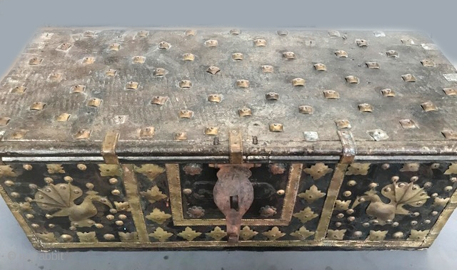 large wood and brass decorated box with inside compartments , India late 19th c or early 20th c.