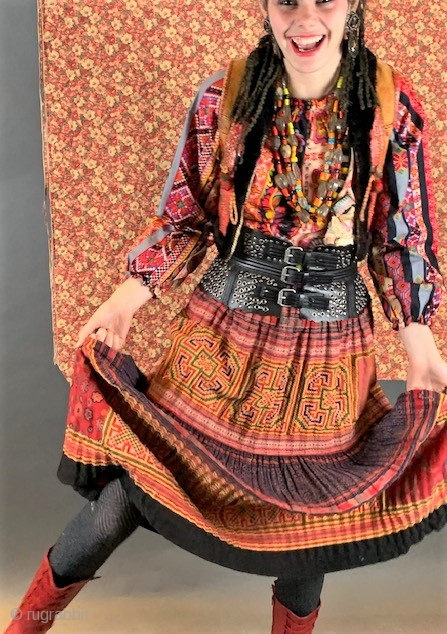 South East asian vintage  embroidered and block printed  skirt, Hmong style embroidery.
