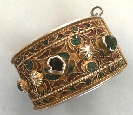 Gilt silver cuff with enameling, glass set stones, early 20th c Tunisia