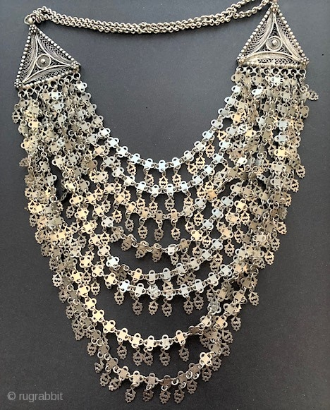 Antique Silver multi strand silver necklace with filigree from Himachel Pradesh
