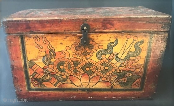 Antique 19th c original painted Tibetan wood storage  box with tiger stripes on sides and top.