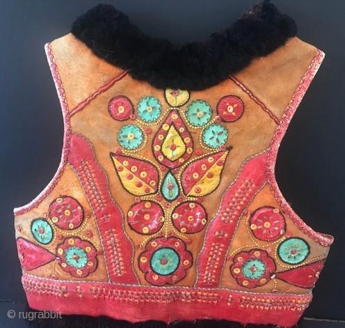 leather applique eastern European vest size S-M Hungarian?