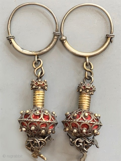 Pair of gilt silver earrings from Salmanca Spain lt 19th/ early 20th c