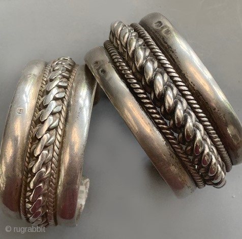 Antique Egyptian silver cuffs with hall marks, so each very nice silver easy to wear