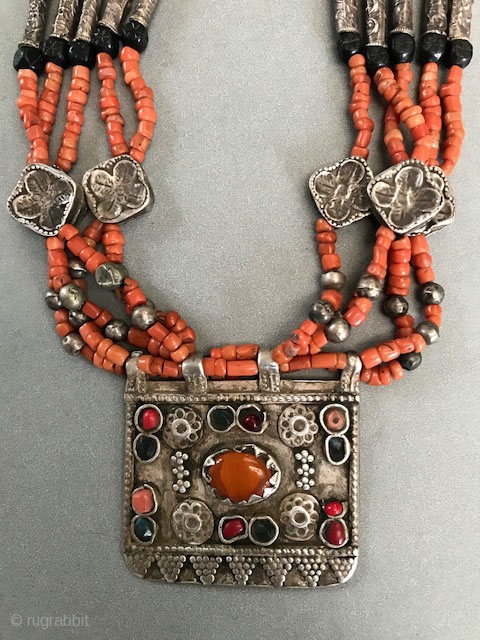 Really nice quality coral necklace with jet and  high quality silver components.  The  pendant having granulated surface and inlaid carnelian. Tadjikistan.