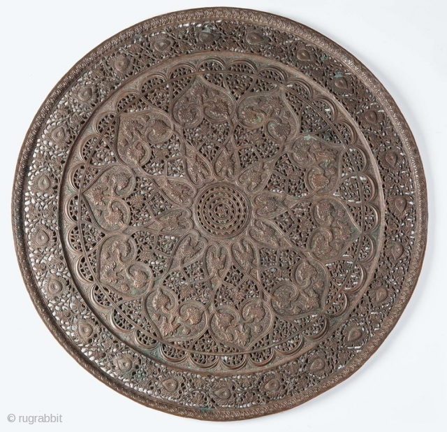 Fine quality pierced brass tray probably from Syria 19th c or possibly earlier