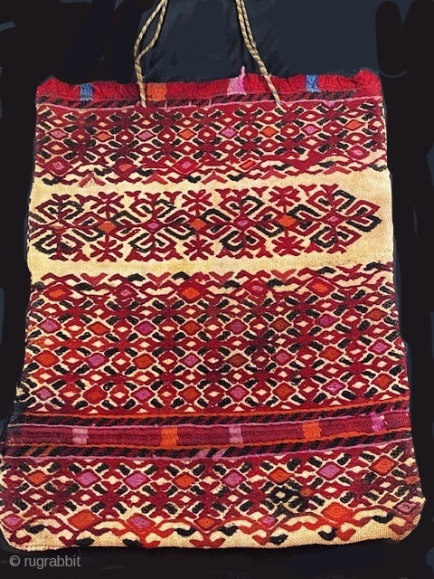 embroidery bag , rare early embroidery from one of the Mordvinian groups , as Chuvash . 19th c