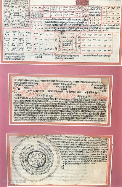 tantric manuscripts , framed and matted late 18th c  Rajasthan India