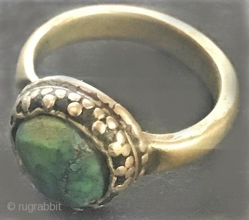 Antique Turquoise and silver ring , Tibetan