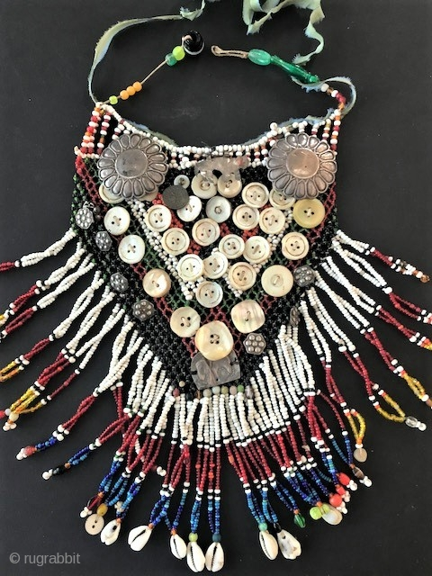 Beaded vintage  bib with silver , glass beads, buttons, worn  by some Turkoman and Uzbekh Kungrat groups tribes.