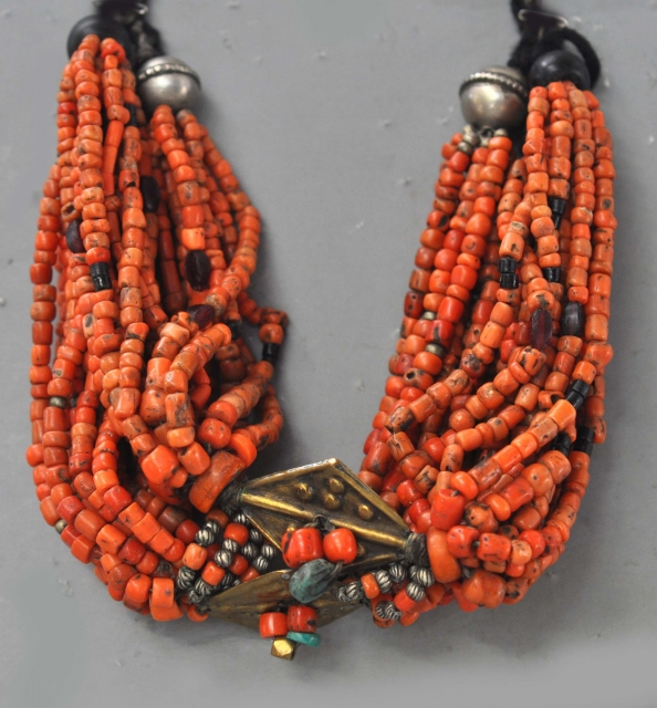 Original coral necklace, with amazonite , jet, silver and amber. Atlas Mountains.