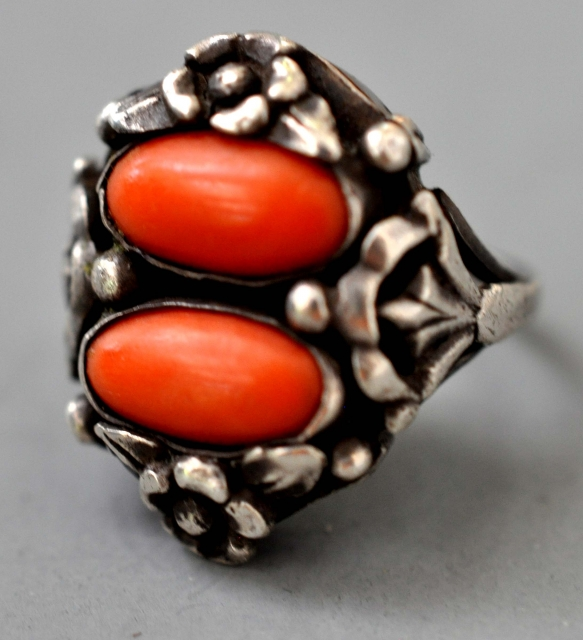 ring, silver with red coral ring, very red good coral , Sicily late 19th c