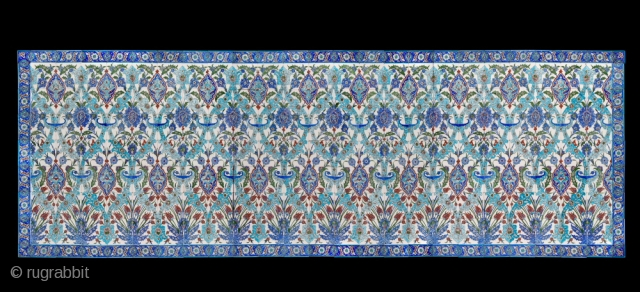 ANTIQUE CERAMIC TURKISH TILES - a large panel consisting of 192 individual tiles and measuring 4.8 x 1.6 metres or 15ft. 9ins. x 5ft. 3ins.  I recently discovered a previously unknown cache of  ...