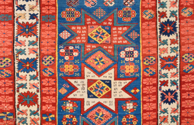 Middle of 19th Century Shirvan Kuba Rug.It has great colors and in good condition Size 104 x 190 cm