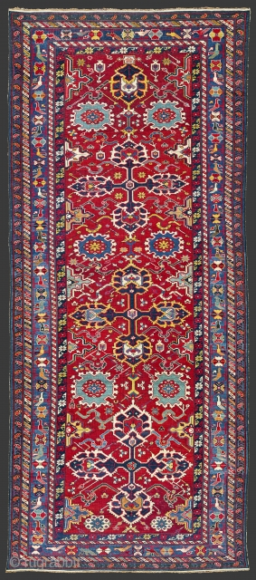 Circa 1850s South East Caucasus, Azerbaijan Unusual Rug