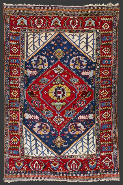 Late 19th century,South West Persia, Fars Khamseh Rug