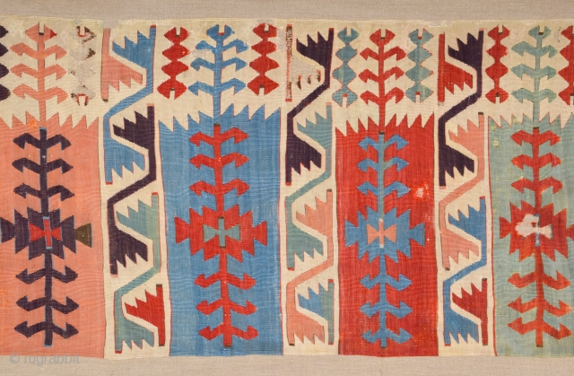 Circa 1800s Woven without borders and probably made in Central anatolian probably Aksaray, this kilim features impressively intense and luminous colours in the beautiful combinations that are highly characteristic of historic Anatolian  ...