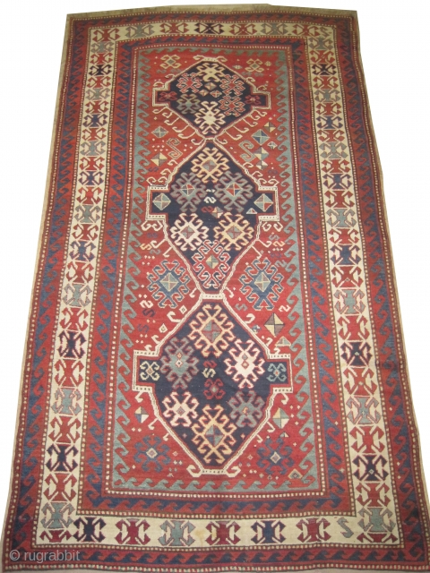 "Fachralo -Kazak Caucasian circa 1890 antique. Collector's item, Size: 296 x 171 (cm) 9' 8"" x 5' 7""  carpet ID: H-355