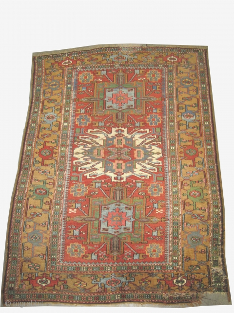 """Bakshaish Heriz Persian circa 1890 antique.  Size: 195 x 148 (cm) 6' 5"""" x 4' 10""""  carpet ID: K-426 Vegetable dyes, high pile, the warp and the weft threads are 100%  ..."""