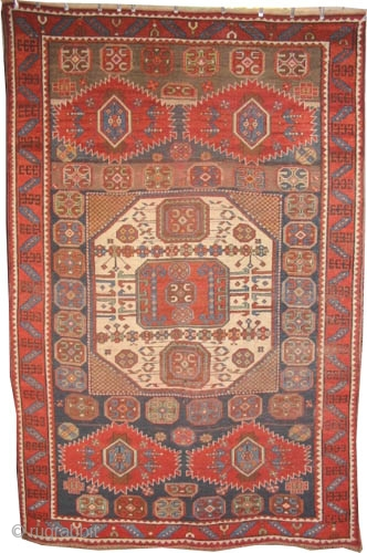 """Karatchoph Kazak Caucasian circa 1895 antique. Collector's item. Size: 280 x 188 (cm) 9' 2"""" x 6' 2""""  carpet ID: K-3257 Vegetable dyes, the warp and weft threads are 100% wool, the  ..."""