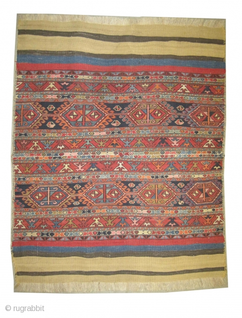 """Soumak kilim Caucasian circa 1910 antique, collector's item, Size: 120 x 96 (cm) 3' 11"""" x 3' 2""""  carpet ID: LM-7  woven with two different technique Soumak and flat, from the  ..."""