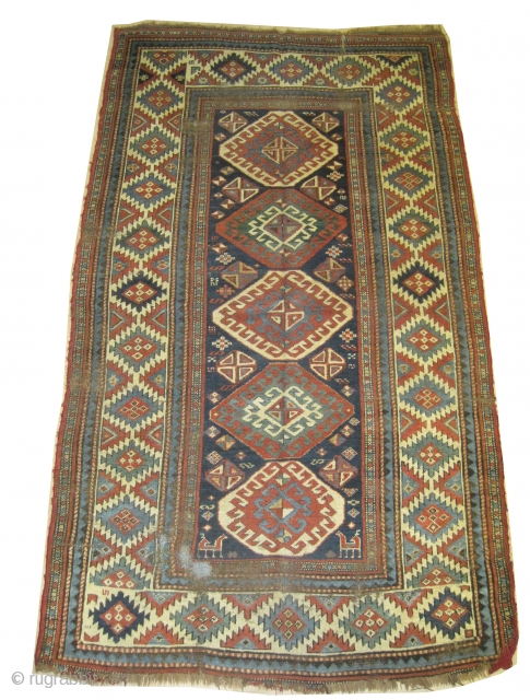 """Gendja Caucasian knotted circa in 1870 antique, collector's item,  235 x 140 (cm) 7' 8"""" x 4' 7""""  carpet ID: V-171 The knots, the warp and the weft threads are hand  ..."""