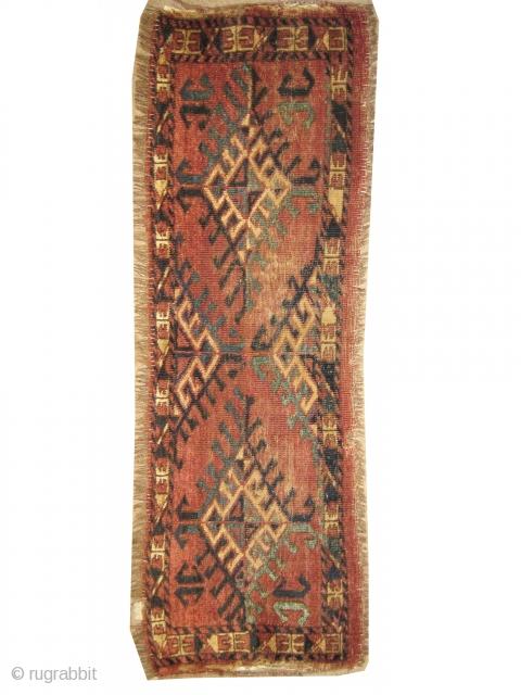 "Ersari Turkmen circa 1870 antique. Collector's item. Size: 121 x 37 (cm) 4'  x 1' 3""   carpet ID: K-5798 The knots are hand spun wool, the brown color is oxidized.  ..."
