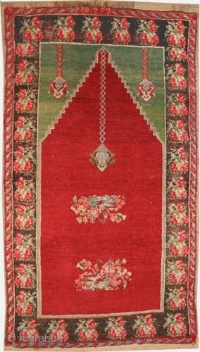 "Erzouroum prayer Anatolian circa 1890 antique. Size: 164 x 94 (cm) 5' 5"" x 3' 1""  carpet ID: K-744 The black colour is oxidized, the knots are hand spun wool, the warp  ..."