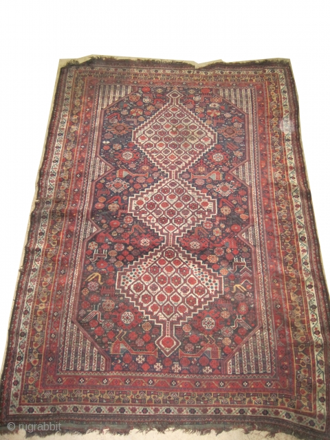 "Shiraz Khamse Persian circa 1900 antique, collector's item, Size: 253 x 176 (cm) 8' 4"" x 5' 9""  carpet ID: UD-2