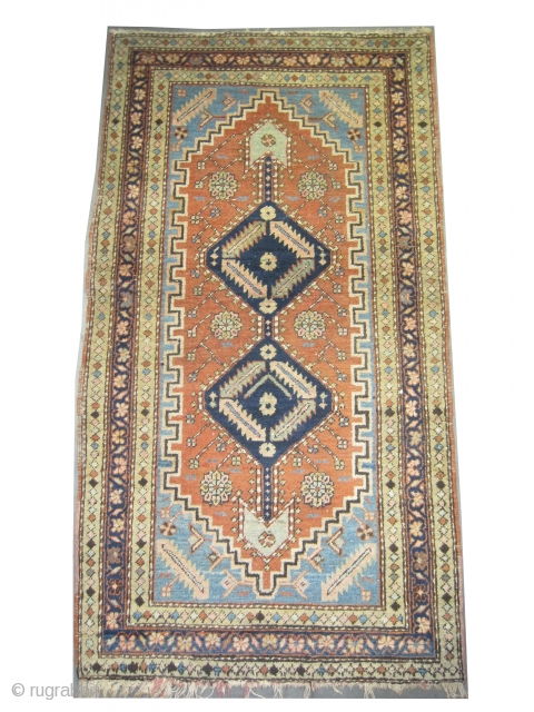 """Serapi Heriz Persian circa 1905 antique. Size: 177 x 96 (cm) 5' 10"""" x 3' 2""""  carpet ID: K-4685 Vegetable dyes, the black color is oxidized, the knots are hand spun wool,  ..."""
