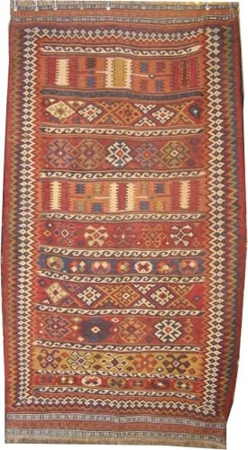 "Qashqai Kilim Persian circa 1915 antique. Collector's item, Size: 290 x 160 (cm) 9' 6"" x 5' 3""  carpet ID: A-1018