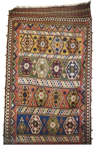 """Qashqai kilim Persian circa 1905 antique. Collector's item, Size: 328 x 178 (cm) 10' 9"""" x 5' 10""""  carpet ID: A-617 Woven with 100% hand spun wool, vegetable dyes, good condition,  ..."""