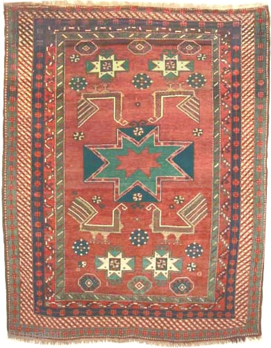 "Star Kazak Caucasian circa 1910 antique. Collector's item, Size: 224 x 183 (cm) 7' 4"" x 6'   carpet ID: K-5292