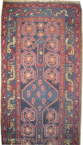 "Shahsavan Persian circa 1910 antique. Size: 407 x 90 (cm) 13' 4"" x 2' 11""  carpet ID: K-5682