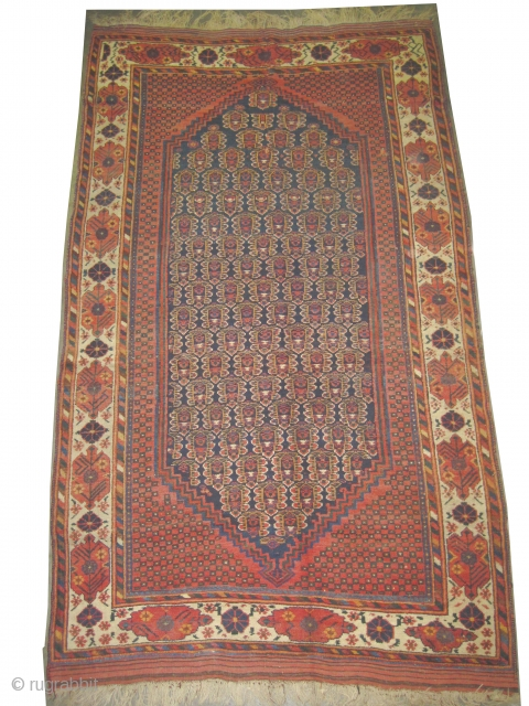 """Afshar Persian circa 1880 antique. Collector's item, Size: 237 x 143 (cm) 7' 9"""" x 4' 8""""   carpet ID: T-566 the brown color is oxidized, vegetable dyes, the knots are hand spun  ..."""
