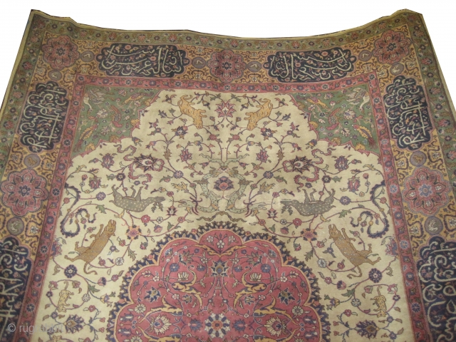 """Amritsar Indian, knotted circa in 1922 antique, 340 x 245 (cm) 11' 2"""" x 8'  carpet ID:P-6020 From 16th century Mohgul design, ivory background decorated with animals, the center medallion is  ..."""