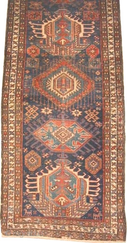 "Shahsavan Persian circa 1910 antique, Size: 375 x 85 (cm) 12' 4"" x 2' 9""  carpet ID: P-5246
