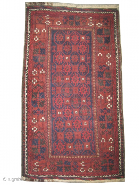 """Belutch Persian circa 1910 antique. Collector's item, Size: 145 x 80 (cm) 4' 9"""" x 2' 7""""   carpet ID: E-435 Fine knotted, acceptable condition, the oxidized places are slightly shorter than the  ..."""