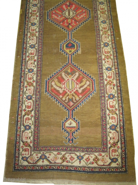 """Serap Persian circa 1910 antique. Size: 340 x 110 (cm) 11' 2"""" x 3' 7""""  carpet ID: K-3248 The background is knotted with camel hair, the two edges are finished with 3  ..."""