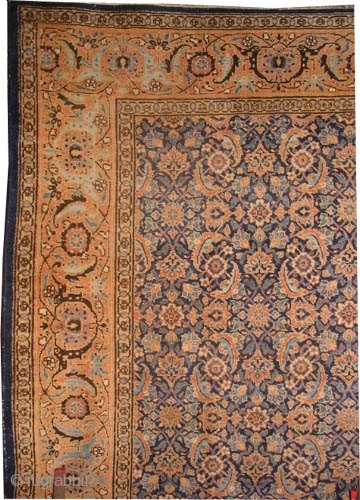"""Tabriz Persian circa 1915 antique. Size: 390 x 292 (cm) 12' 9"""" x 9' 7""""  carpet ID: P-5868 All over Herati design, minor places the pile is slightly short, acceptable condition and  ..."""