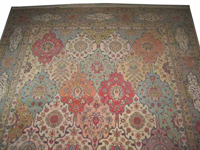 """Tabriz-Petak Persian old. Size: 375 x 261 (cm) 12' 4"""" x 8' 7""""  carpet ID: OZ-6 All over design, the surrounded large border has poetic inspiration, fine knotted, high standard quality and  ..."""