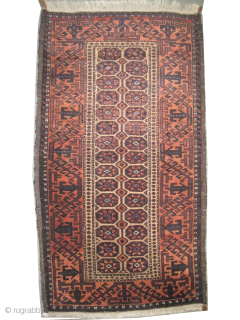 """Belutch Persian circa 1915 antique. Collector's item, Size: 130 x 73 (cm) 4' 3"""" x 2' 5""""   carpet ID: T-604 The background is knotted with camel hair, geometric design, high pile, perfect  ..."""
