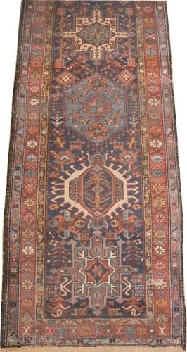 "Karadja Persian circa 1910 antique. Size: 338 x 91 (cm) 11' 1"" x 3'   carpet ID: K-3870 Geometric design with 7 center medallions, the background color is indigo, the pile is  ..."