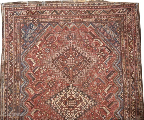 """Qashqai Persian circa 1915 antique. Size: 317 x 226 (cm) 10' 5"""" x 7' 5""""  carpet ID: P-5966 The background color is rust with three center medallions, soft carpet, acceptable condition."""