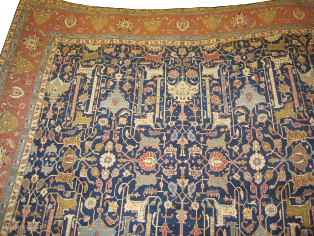 """Tabriz Persian circa 1920 Semi antique, Size: 399 x 295 (cm) 13' 1"""" x 9' 8""""  carpet ID: P-24 The black color is oxidized, the knots are hand spun wool, all over  ..."""