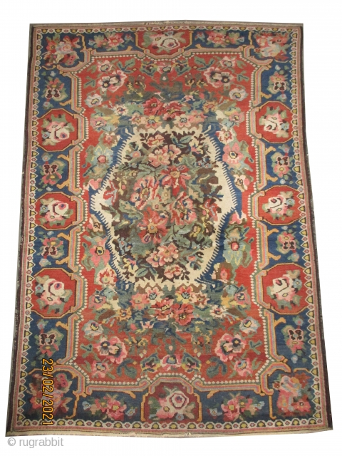 """Baktiar Ermenibaf Persian knotted circa in 1910 antique, collector's item, 216 x 150 (cm) 7' 1"""" x 4' 11""""  carpet ID: K-5527 The black knots are oxidized, the knots are hand spun  ..."""
