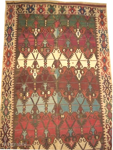 """Anatolian kilim, antique. Size: 436 x 164 (cm) 14' 4"""" x 5' 5""""  carpet ID: A-1014 Woven with hand spun wool, certain places the white colors are woven with cotton, certain oxidized  ..."""